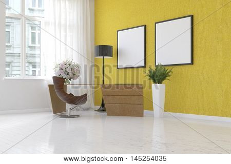 Scene of simple home office with yellow wall, plant, floor lamp and empty picture frames. 3d Rendering.