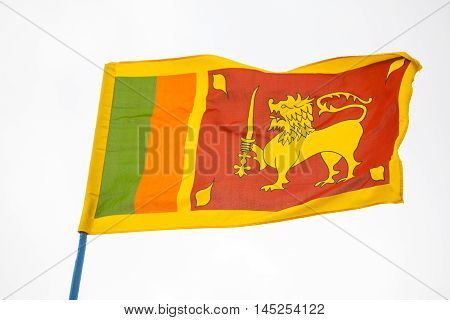 Sr Llankan flag waving high on the sky