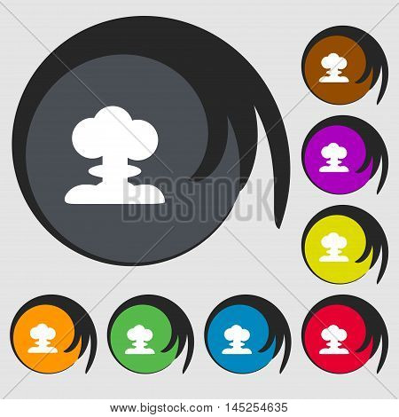Explosion Icon Sign. Symbols On Eight Colored Buttons. Vector
