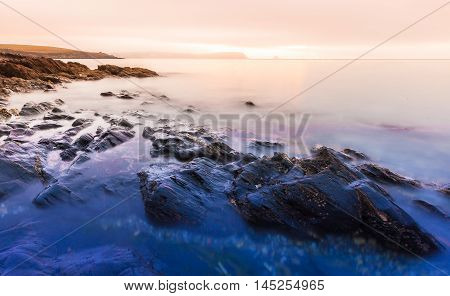 Cornwall Sunrise With Rocks And Gull Island