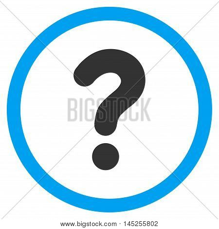 Question vector bicolor rounded icon. Image style is a flat icon symbol inside a circle, blue and gray colors, white background.