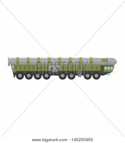 Military rocket launcher vector illustration. Truck rocket launcher and war rocket launcher. Rocket launcher weapon danger explosive technology. Rocket launcher army war gun, attack handgun terrorist.