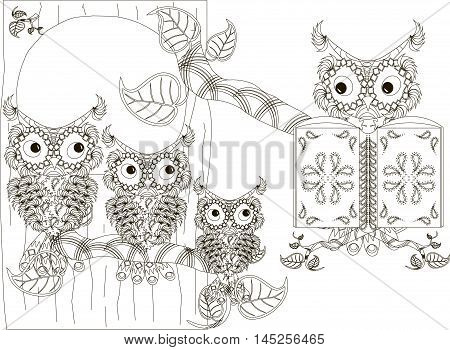 Stylized black and white reads owl and owlets on tree, hand drawn, vector illustration