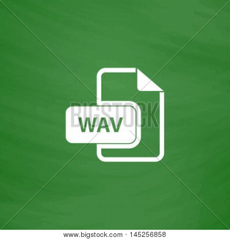 WAV audio file extension. Flat Icon. Imitation draw with white chalk on green chalkboard. Flat Pictogram and School board background. Vector illustration symbol