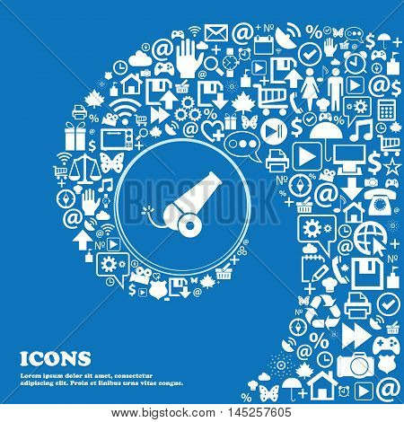 Cannon Icon . Nice Set Of Beautiful Icons Twisted Spiral Into The Center Of One Large Icon. Vector