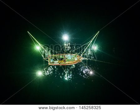 Thailand traditional fishing night boat in the sea
