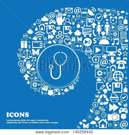 Stethoscope Icon . Nice Set Of Beautiful Icons Twisted Spiral Into The Center Of One Large Icon. Vec