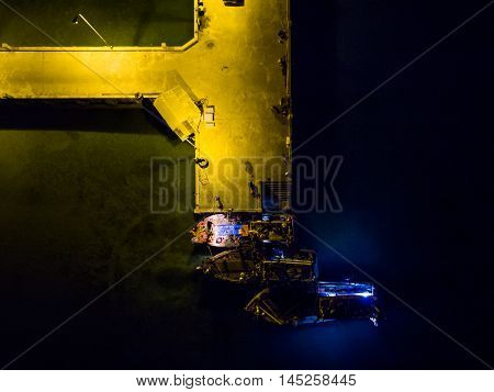 Night pier view in Koh Phangan Thailand