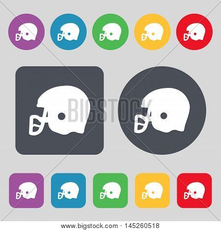 American Football Helmet Icon Sign. A Set Of 12 Colored Buttons. Flat Design. Vector