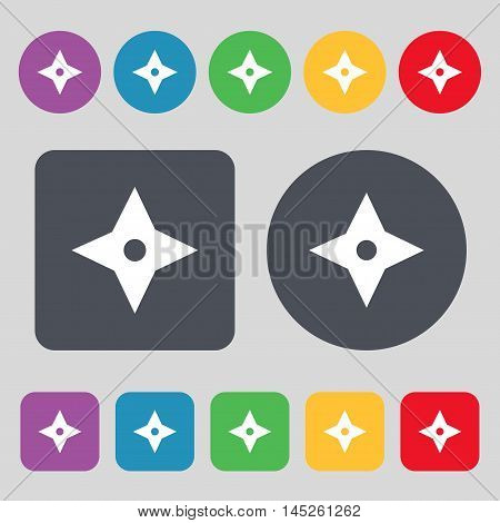 Ninja Star, Shurikens Icon Sign. A Set Of 12 Colored Buttons. Flat Design. Vector