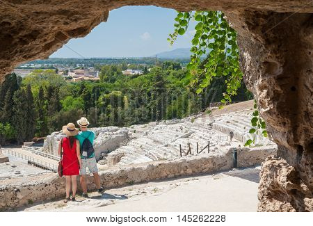 Section of the famous greek theater of Syracuse Sicily seen from one of the tomb in the upper terrace