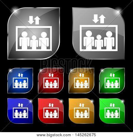 Elevator Symbol Sign. Set Of Ten Colorful Buttons With Glare. Vector Sign. Set Of Ten Colorful Butto