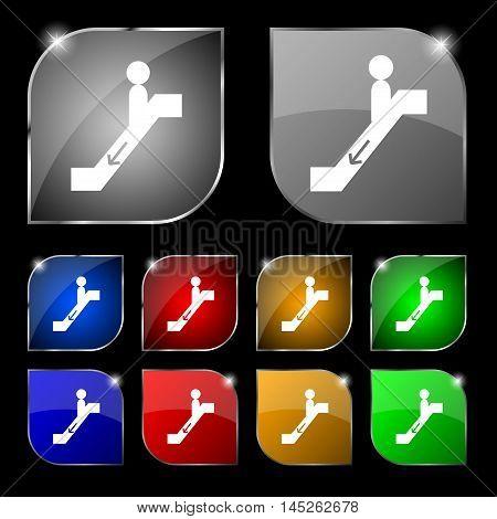 Escalator Down Icon Sign. Set Of Ten Colorful Buttons With Glare. Vector Sign. Set Of Ten Colorful B