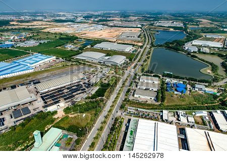 Industrial Estate Land Development Construction Water Reservoir Aerial View