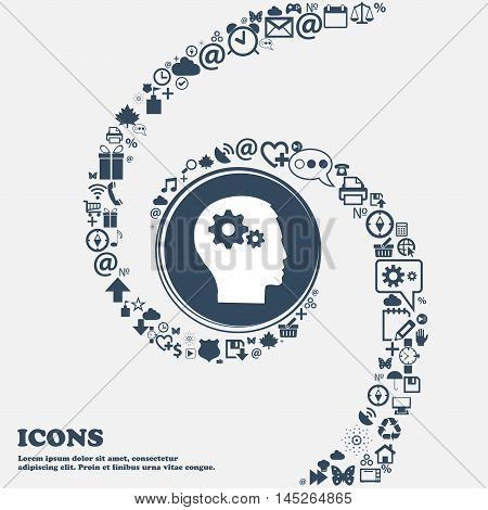 Pictograph Of Gear In Head Icon In The Center. Around The Many Beautiful Symbols Twisted In A Spiral