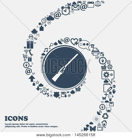 Shotgun Icon In The Center. Around The Many Beautiful Symbols Twisted In A Spiral. You Can Use Each