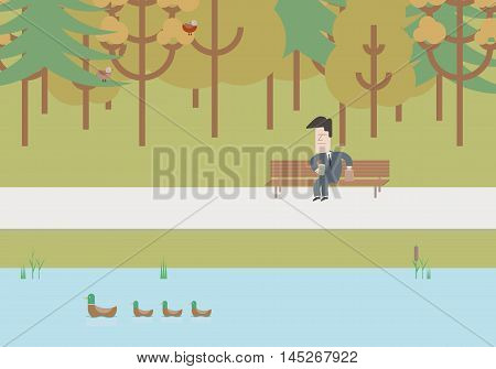 Businessman on a bench at lunchtime. Vector