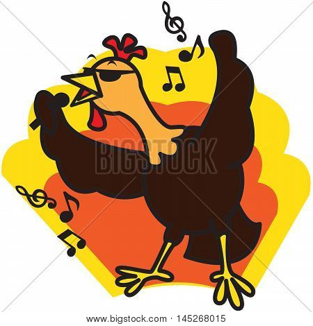 cute cartoon chicken singing a song vector illustration