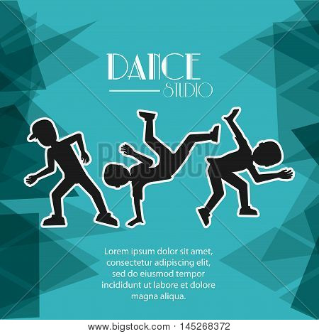 boys cartoons avatar dancer dance studio academy advertising icon. Silhouette design. Polygonal background. Vector illustration