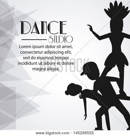 girls boys cartoons avatar dancer dance studio academy advertising icon. Silhouette black and white design. Vector illustration