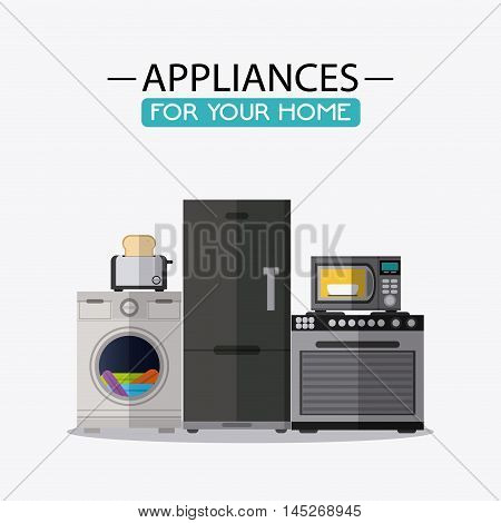 stove microwave fridge toaster washer cloth appliances supplies electronic home icon. Colorful and flat design. Vector illustration