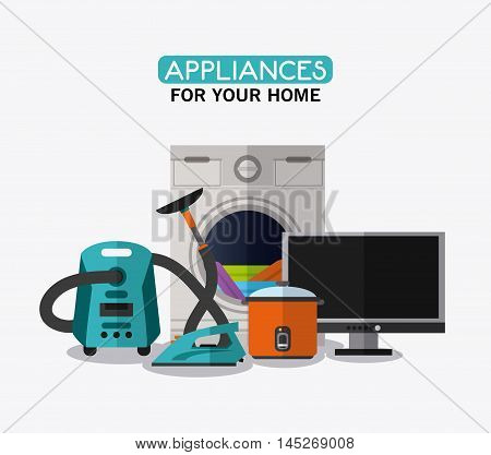vacuum iron cooker tv washer cloth appliances supplies electronic home icon. Colorful and flat design. Vector illustration