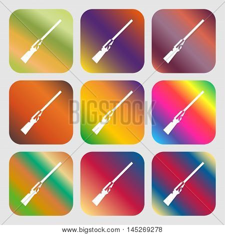 Shotgun Icon . Nine Buttons With Bright Gradients For Beautiful Design. Vector