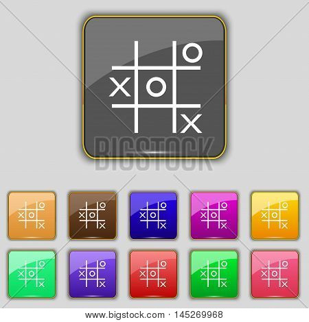 Tic Tac Toe Game Vector Icon Sign. Set With Eleven Colored Buttons For Your Site. Vector
