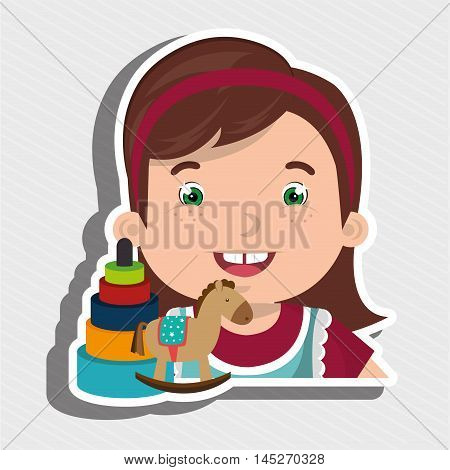girl toys cartoon vector illustration graphic eps 10