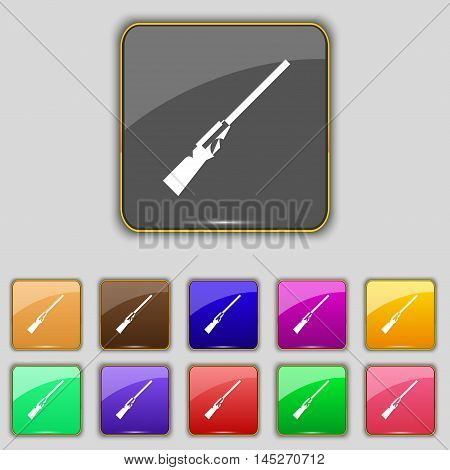 Shotgun Icon Sign. Set With Eleven Colored Buttons For Your Site. Vector