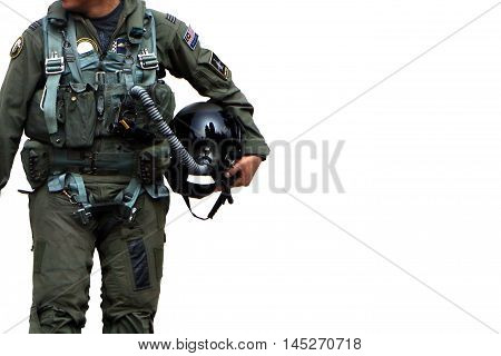 Air force pilot walking over white backround