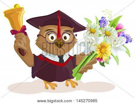 Owl teacher holding bouquet of flowers. School bell. Isolated on white vector cartoon illustration