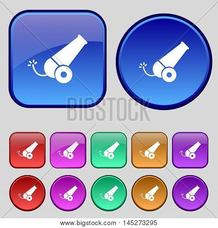 Cannon Icon Sign. A Set Of Twelve Vintage Buttons For Your Design. Vector