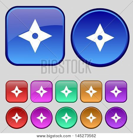Ninja Star, Shurikens Icon Sign. A Set Of Twelve Vintage Buttons For Your Design. Vector