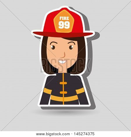 woman fire helmet mask vector illustration graphic