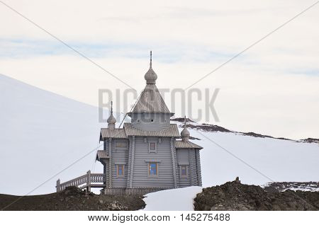 Orthodox church on the hill at Antarctica, South pole