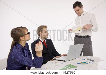 Business people discussing  new project