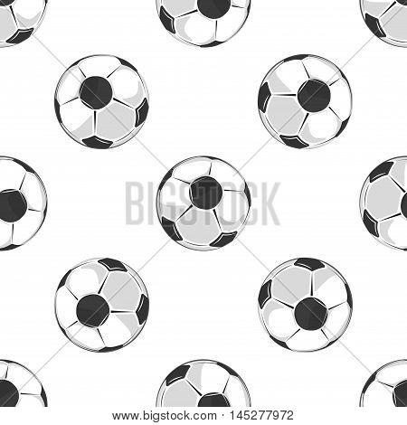 Soccer balls seamless pattern in black and white. Football or soccer game. Vector illustration