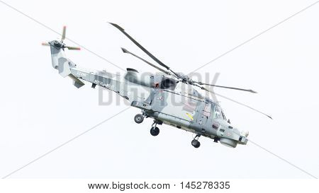 Leeuwarden, The Netherlands - June 11, 2016: Royal Navy (black Cats Display Team) Agusta Westland Aw