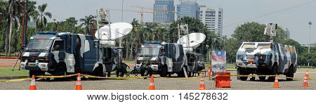 Jakarta, Indonesia - August 17, 2016: Indonesian military Air Force using mobile air defense surveillance radar to monitoring airspace during the independence day flag ceremonial that held at Indonesian Presidential Palace.