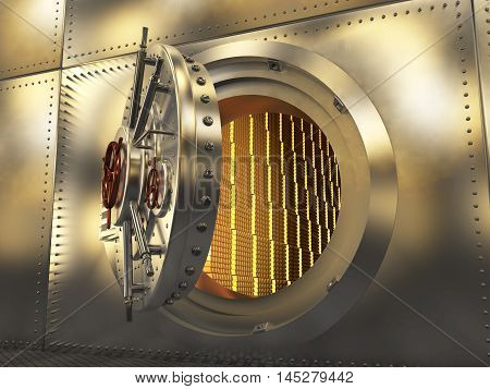 The metal door of the safe, the gold in the safe. 3D illustration