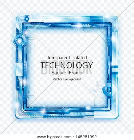 Transparent square technology frame abstract background.