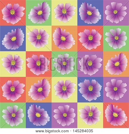 Kosmeya flower in colorful squares. Pattern, stencil for design of fabrics, tapestries, greeting cards, wrapping paper. Rainbow kids background.