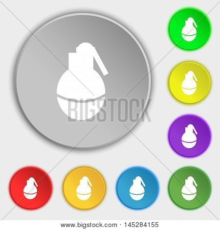 Hand Grenade Icon Sign. Symbol On Eight Flat Buttons. Vector