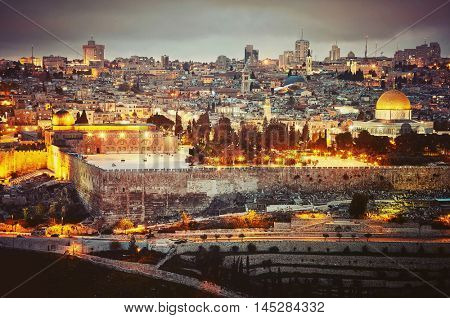 Evening view to Jerusalem old city. Israel. Vintage retro effect