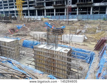 SELANGOR, MALAYSIA -May 25, 2015: The concrete pile cap concreted at the construction site in Selangor Malaysia. The pile cap is the part of building foundation.