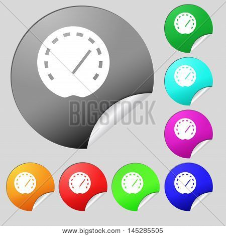 Speedometer Icon Sign. Set Of Eight Multi Colored Round Buttons, Stickers. Vector
