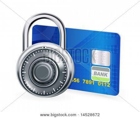 Credit card and lock, bitmap copy