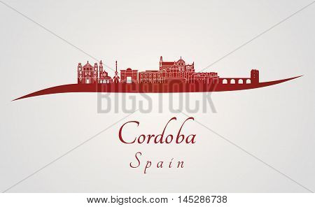 Cordoba skyline in red and gray background in editable vector file