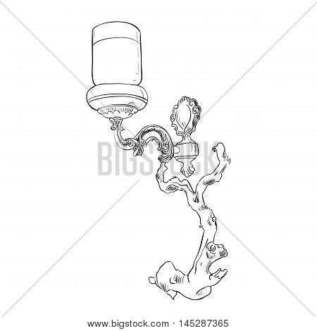 Vector sketch of sconce. Hand draw illustration.
